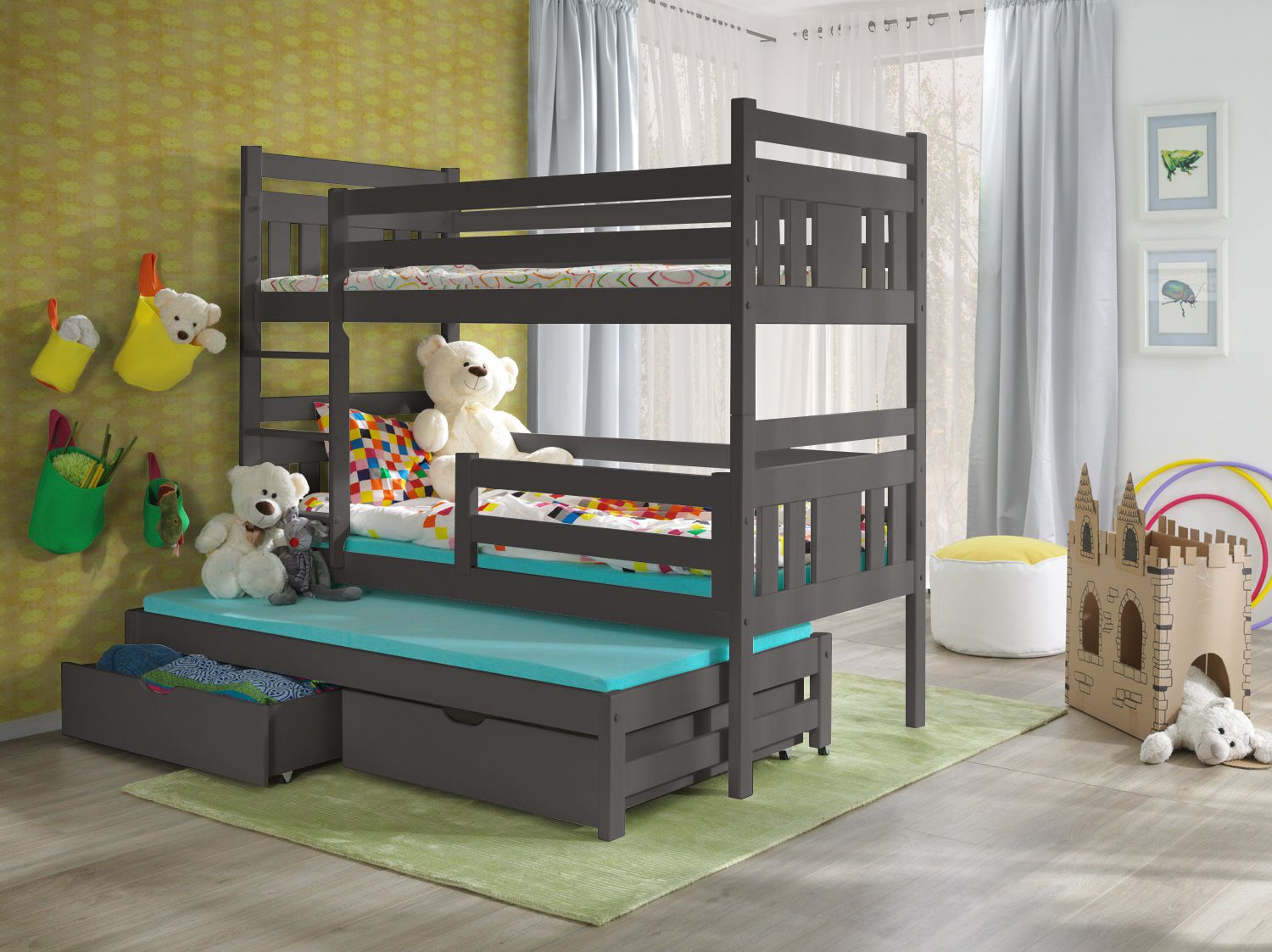 Picture of: Grey Wooden Triple Bunk Beds Meggi Dendex Furniture