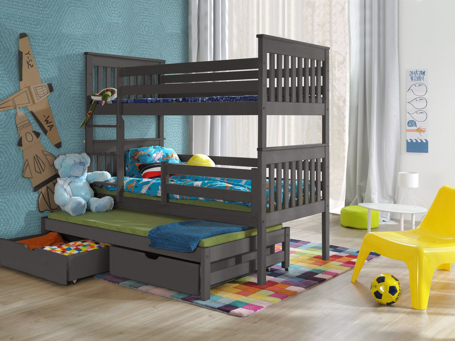 Triple Grey Bunk Beds For Sale Online High Sleeper With Trundle Guest Bed
