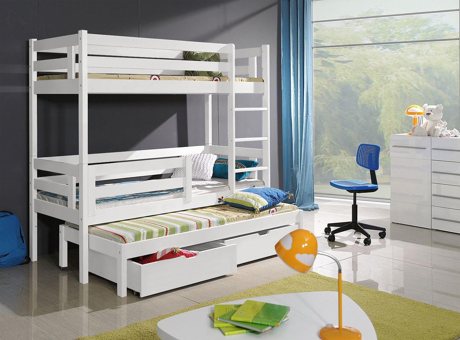 Picture of: Triple Sleeper White Bunk Beds Bert 3 Dendex Furniture