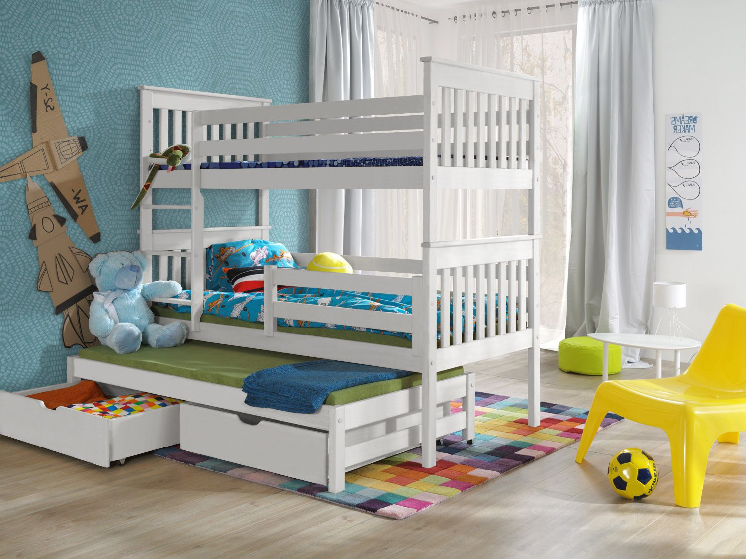 Picture of: White Triple Sleeper Wooden Bunk Beds With Storage Dream 3